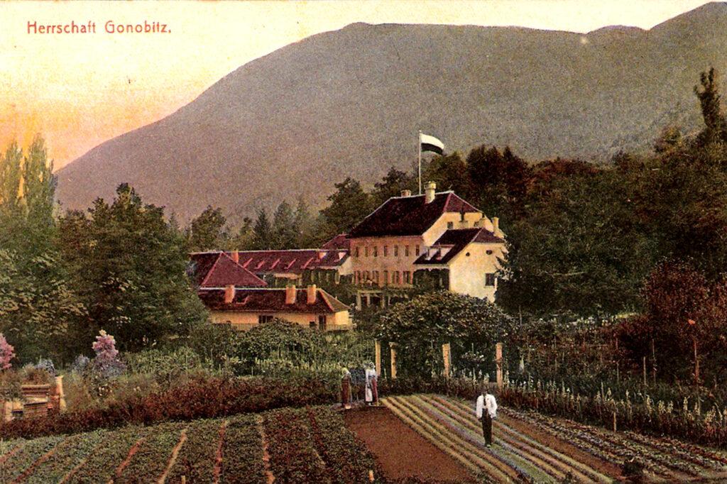 Dvorec Trebnik iz preteklosti Gonobitz - zunanjost vrtovi - Foto ahiv Zgodovinsko društvo Konjice